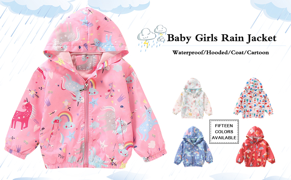 LZH Baby Girls Waterproof Raincoat Floral Outwear Hooded Jacket Coat