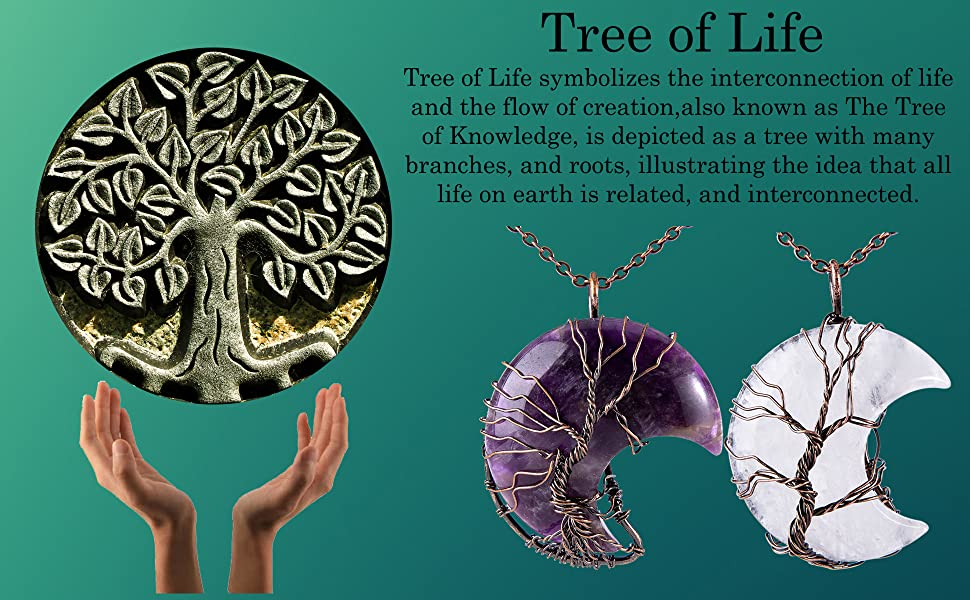 50x8mm Round Flourite Tree of Life Pendant with 24 Brown Cord Necklace