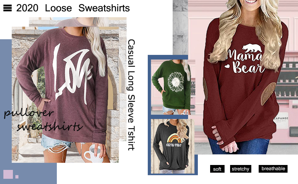 ZIOOER Women Good Vibes Rainbow Crew Neck Long Sleeve Casual Sweater Sweatshirt T-Shirt Tunic Blouse Tops with Pockets