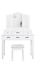 Vanity Set with Lighted Tri-folding Mirror