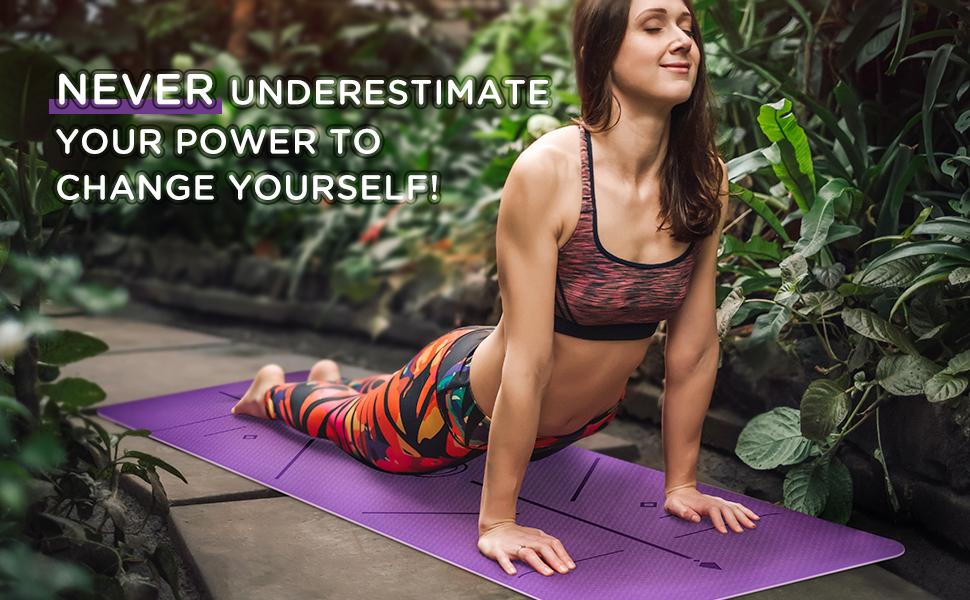 yoga mat  thick yoga mat yoga mats for exercise  yoga mat alignment lines yoga mat 6mm non slip