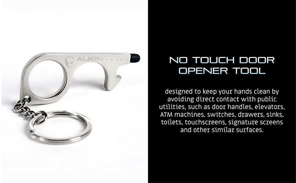 No- Touch Door Opener Hook with Leather Keychain for Outdoor Door Handle Touchscreen Beer Bottle Opener Keeps Hands Clean /& Mobile Pen Black WJUAN Contactless EDC Door Opener