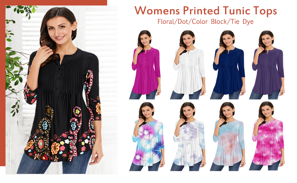 Floral Tie Dye Print Tunic Tops