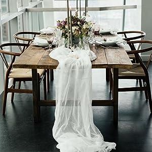 white chiffon table runner