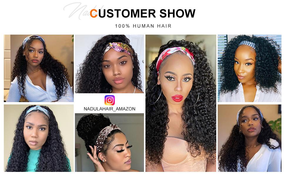 jerry curly headband wig customer show