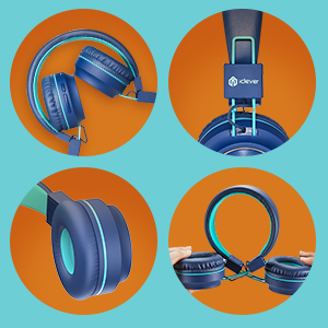 headphones for kids kids headphones bluetooth headphones wireless headphones for kids tablet travel - IClever BTH03 Kids Bluetooth Headphones, Colorful LED Lights Kids Headphones With MIC, 25H Playtime, Stereo Sound, Bluetooth 5.0, Foldable, Childrens Headphones On Ear For Study Tablet Airplane, Blue