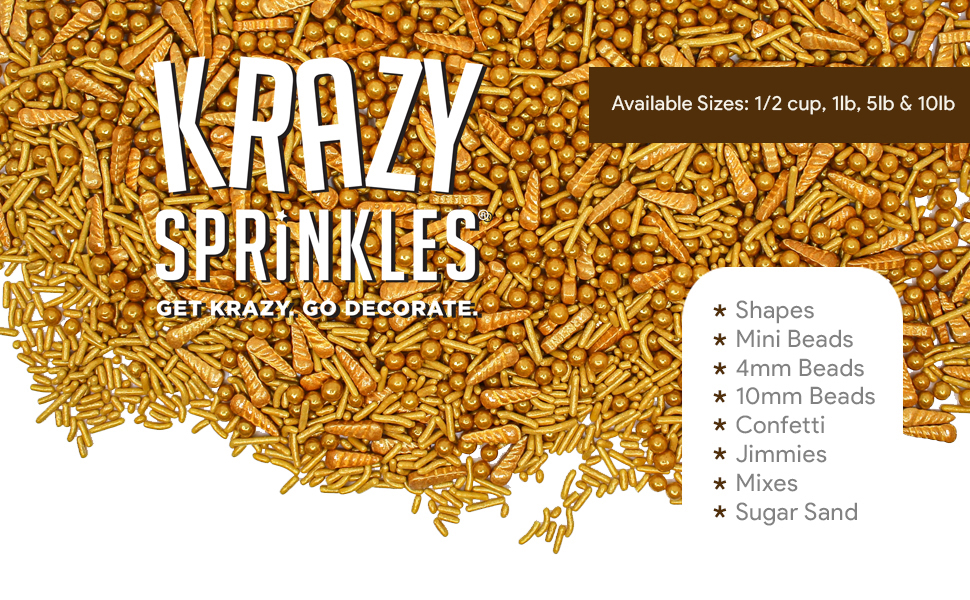 Krazy Sprinkles - Shapes, Jimmies, Beads, Mixed, Sugar Sand