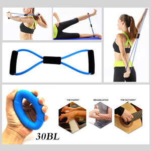 8 SHAPED EXERCISE BANDS & HAND GRIP STRENGTHENER