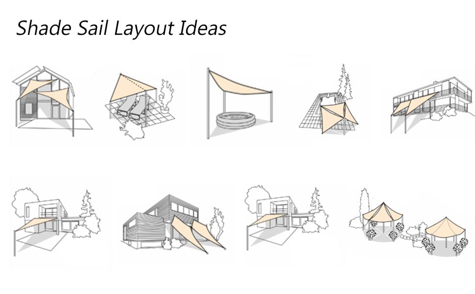 Shade sail layout ideas-installation tips-patio shade install guide-triangle shade sail fabric