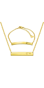 bar necklace bracelet set