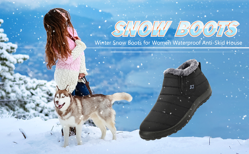 mens womens snow boots waterproof winter shoes for adults fur lined warm boots house shoes