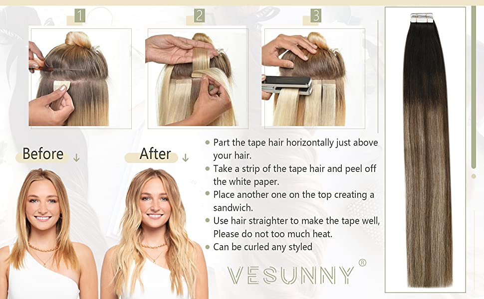 Balayage Brown Tape in Human Hair Extensions