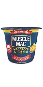 Macaroni amp; Cheese Muscle Mac Microwaveable Cups Original Cheddar High Protein Non-GMO Pasta Snack