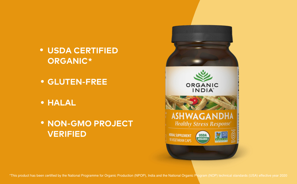 ashwagandha supplement organic health usda certified gluten free halal non gmo project verified