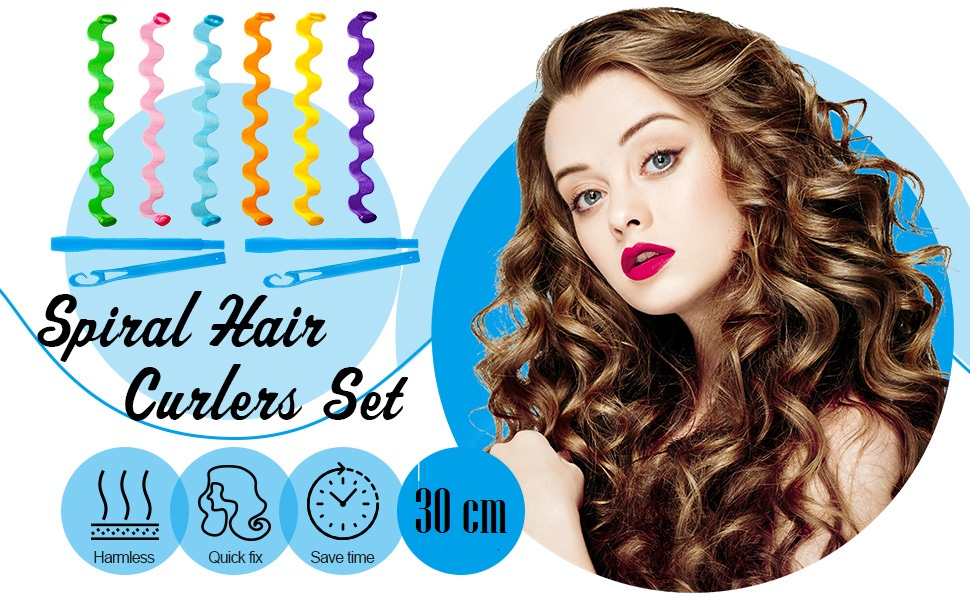 Hair Rollers Wave Styles,Heatless Spiral Curlers with 2 Pieces Styling Hooks