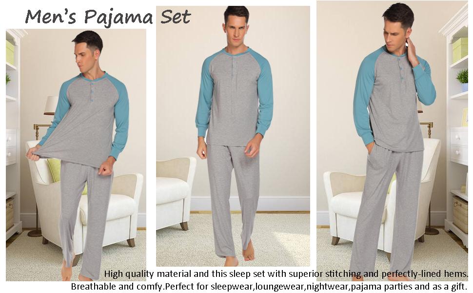 mens classic henley nightshirt long sleeve sleepwear set