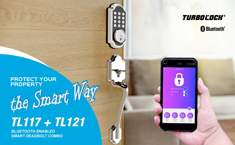 TURBOLOCK App-Enabled Deadbolt & Entry Handle Combo — The Smarter Solution (TL117+TL121)