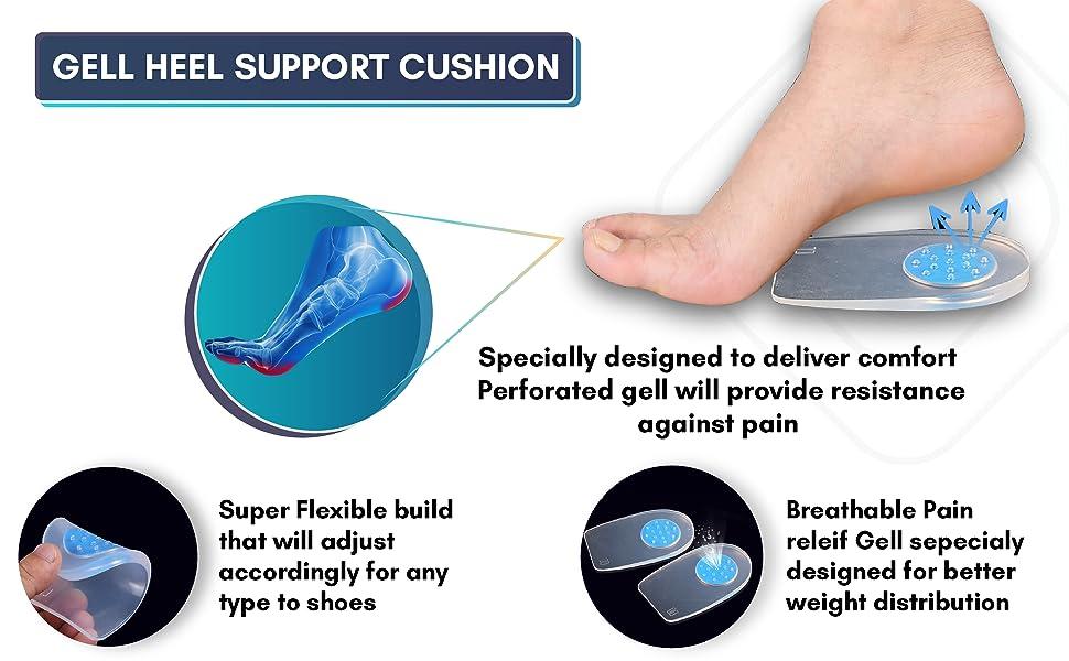 Gel Heel cups, Gel heel cushions, heel cushion for pain relief, shock absorbing, bone spur