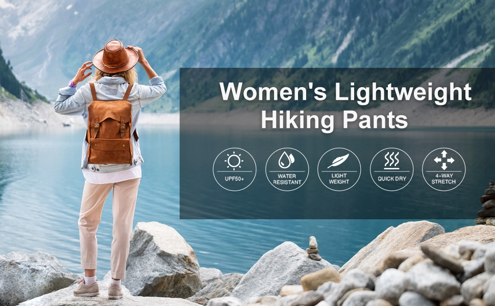 Women's Cargo Hiking Pants Lightweight Joggers Quick Dry Water Resistant Outdoor UPF Zipper Pockets