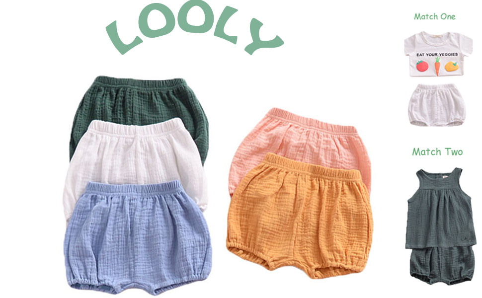 LOOLY Baby Girls Cotton Linen Blend Ruffle Bloomer Shorts