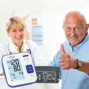 Misuratore Pressione Sanguigna da Braccio, Lovia Sfigmomanometro Elettronico Da Braccio, Misurare Pressione Arteriosa e frequenza cardiaca, Grande Schermo LCD, 240 Memoria, Approvato FDA/CE, Blu