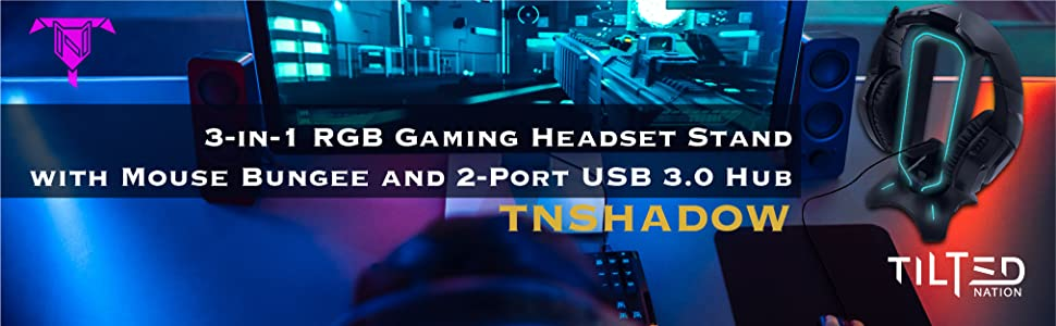 Tilted Nation RGB Headset Stand and Gaming Headphone Display with Mouse Bungee Cord Holder USB Hub
