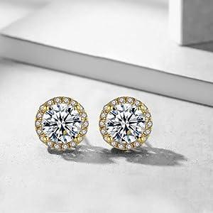 halo stud earrings for women