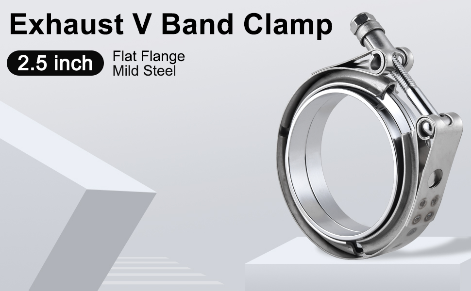 EVIL ENERGY 2.5 Inch Stainless Steel Exhaust V Band Clamp Mild Steel Flat Flange