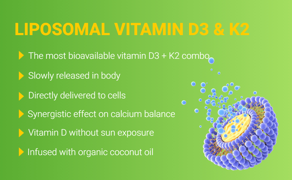 vitamin D vitamin k lipsome the best absorption more absorbable than tablet capsule pill gummy spray