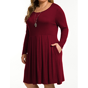 FOLUNSI Womens Plus Size Casual Long Sleeve Pleated T Shirt Dress with Pockets