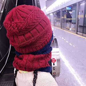 Guanti in maglia termica Cappello sciarpa e guanti con spesso pile per ragazze dei ragazzi, età 2-9