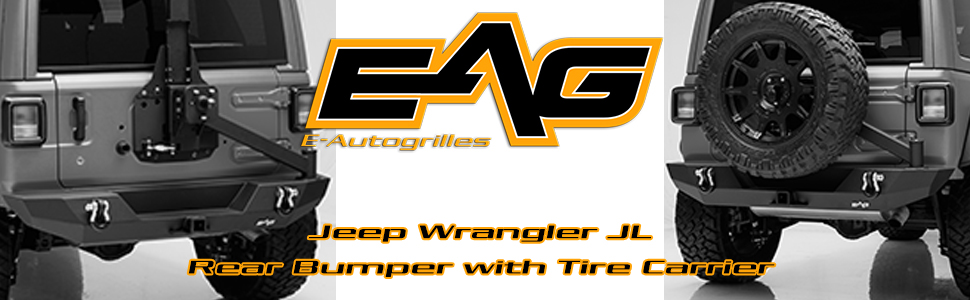 JL Rear Bumper with Tire Carrier Replacement Black Textured