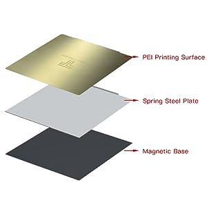 Aibecy 310 * 310mm Remoción Spring Steel PEI Lámina de impresión ...