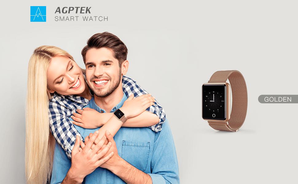 AGPTEK Bluetooth Smartwatch for Women, Sport Fitness Tracker IP67 Waterproof with Heart Rate, Blood Pressure, Sleep Monitor, Calorie Burn Counter, ...