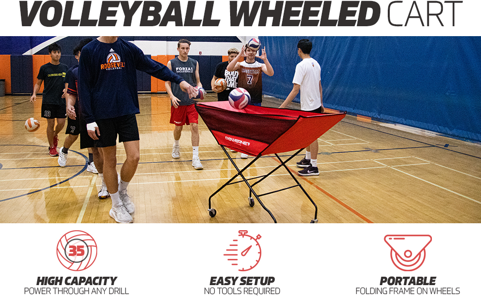 volleyball players training using PowerNet's volleyball cart