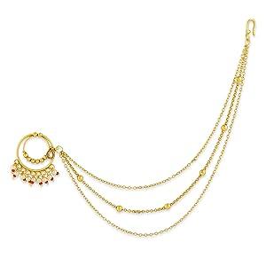 Nose Ring, non piercing nose ring, Nose ring for women, kundan jewellery, bridal jewellery, Nath