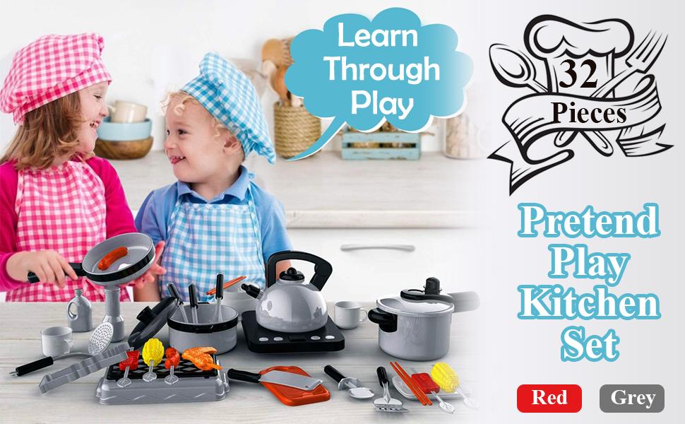 Kitchen Pretend Play Baby Babies Kids Kiddo Boy Girl 32 Pieces Realistic Toy & Games Red Grey Set