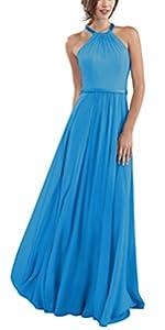 Halter Bridesmaid Dresses Long for Women Chiffon Prom Ball Gown Evening Dress