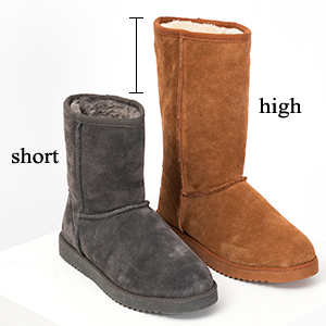 Women sheepskin shearling snow knee high faux fur lined bootie slippers wide calf