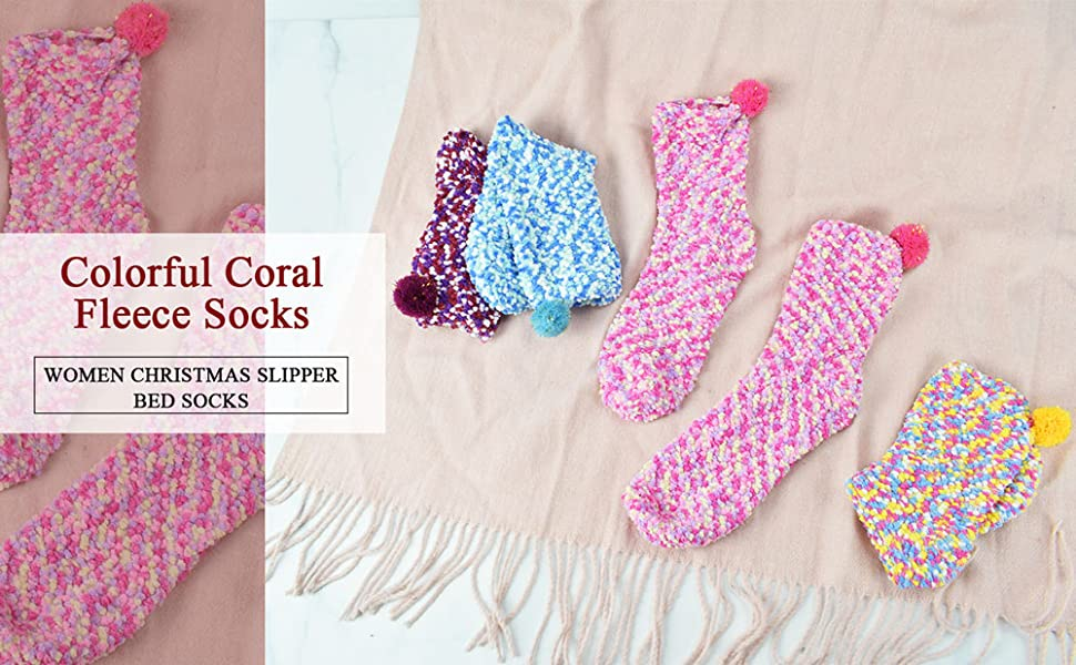 Colorful Fleece Slipper Socks 3 Pair Pack