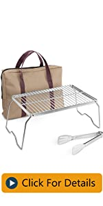Odoland Folding Campfire Grill, 304 Stainless Steel Grate Barbeque Grill