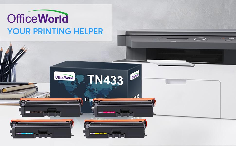 TN433 Brother toner cartridges high yield set yellow cyan black Magenta
