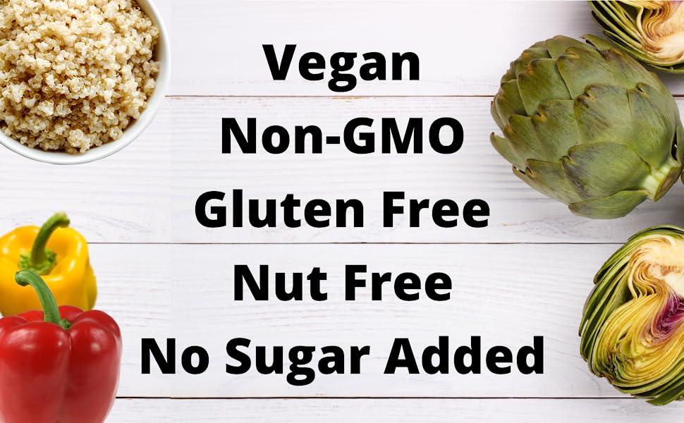 vegan non-gmo gluten-free plant-based nut-free artichoke roasted pepper quinoa quick meal no sugar