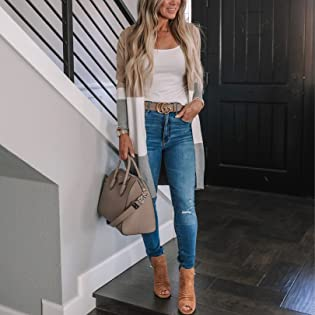 Women Open Front Long Cardigan Strip Color Block Long Sleeves Lightweight Knit Fall Sweater Coats