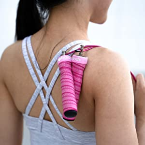 Peach Bands Fitness Speed Jump Rope Skipping Rope for Women Adjustable Pink workout exercise gym
