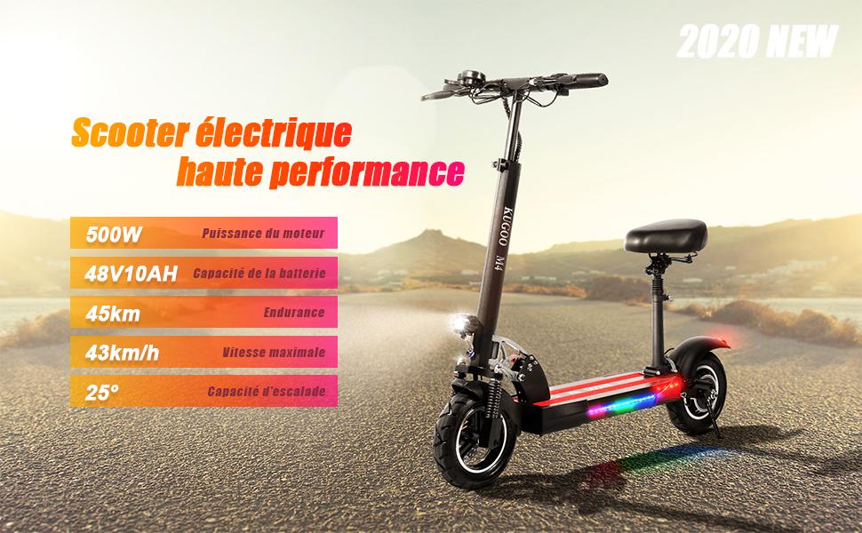 """électrique 10"""",avec Siège 500W 45 km la Longue Portée, Vitesse Jusqu'à 43 km/h"""