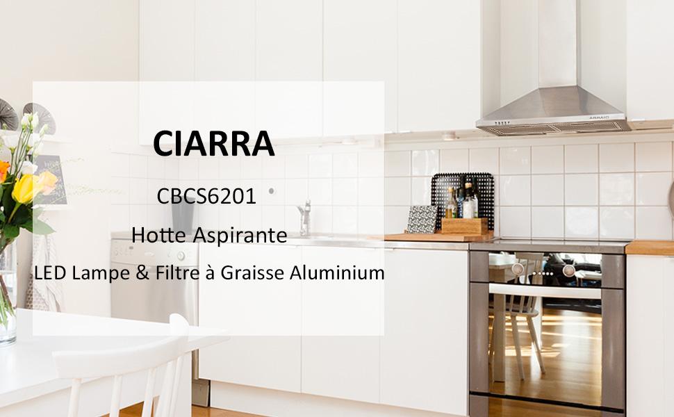 CIARRA CBCS6201 hotte aspirante 60cm inox recyclage ou evacuation decorative murale inox