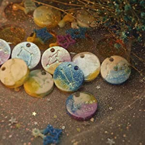 iSuperb 12 Constellations Resin Molds, Discs Pendant Epoxy Resin Silicone Mold Ice Tray