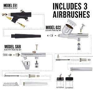 3 Airbrush Professional Master Airbrush Multi-Purpose Airbrushing System