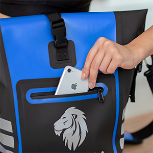 Fahrradtasche Gepäckträgertasche Damen Rucksack Rolltop Daypack KHALISIA Wasserdicht blau kompakt